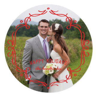 """Decorative Frame Holiday Card - Red 5.25"""" Square Invitation Card"""