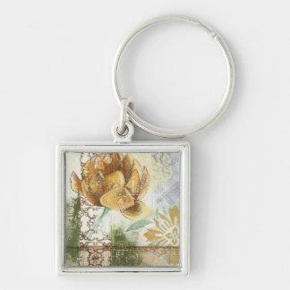 Decorative Fresco Design with Globe Flower Silver-Colored Square Keychain