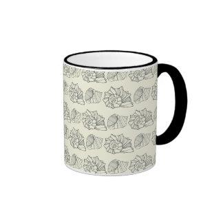 Decorative Shells Pattern Ringer Coffee Mug