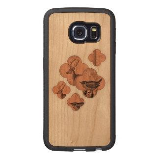 Deer Nature Leather Suede Faux Bird Quatrefoil Wood Phone Case