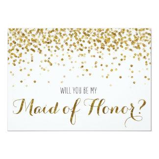 Des confettis de scintillement d'or vous serez ma carton d'invitation  12,7 cm x 17,78 cm