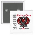 Diabetes Hope Faith Cure Heart Ribbon 2 Inch Square Button