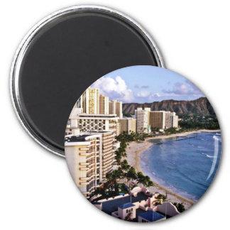 Diamond Head - Waikiki Beach, Oahu 2 Inch Round Magnet