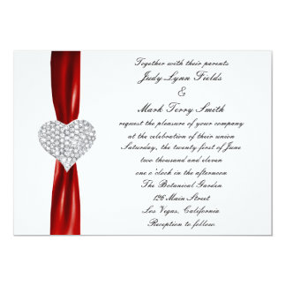 Diamond Hearts Red Wedding Invitation