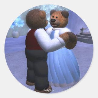 Dinky Bears Christmas Ball Round Sticker