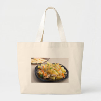 Dish of stewed potatoes with meat and spices jumbo tote bag