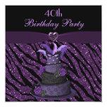 "Diva Cake & Printed Zebra Glitter 40th Birthday 5.25"" Square Invitation Card"