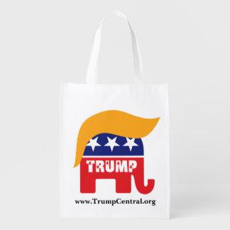 Donald Trump Republican Elephant Hair Logo Grocery Bags