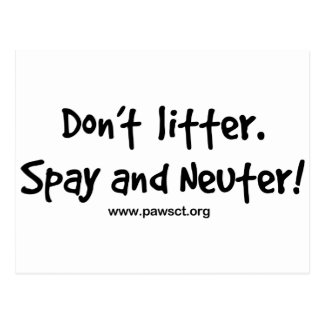 Don't litter spay and neuter postcard