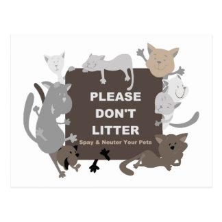 Don't Litter (Spay & Neuter) Postcard