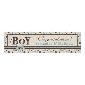 Dot Print Baby Shower Banner Boy