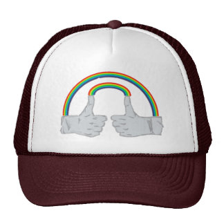 Double Rainbow Double Thumbs Up Trucker Hat