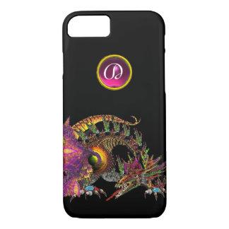 DRAGO,FANTASY DRAGON,PINK PURPLE GEMSTONE MONOGRAM iPhone 7 CASE