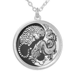 dragon and tiger yin yang symbol round pendant necklace
