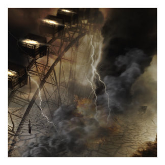 Dramatic Ferris Wheel Falls in a Lightning Storm Photographic Print