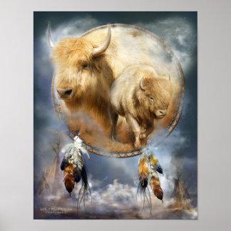 Dream Catcher Series-Spirit Of The White Buffalo Poster