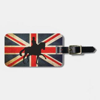 Dressage Horse with Union Jack Flag Patriotic Bag Tags