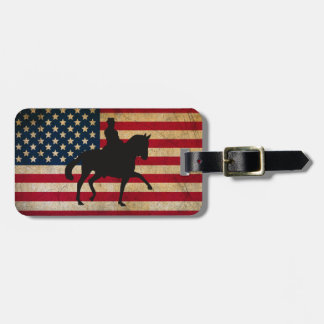 Dressage Horse with United States Flag Patriotic Tags For Bags