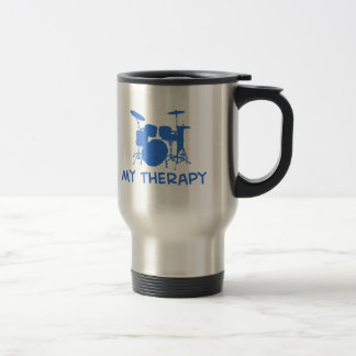 Drums my therapy 15 oz stainless steel travel mug