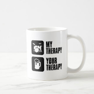 Drums my therapy classic white coffee mug