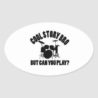 Drums Vector Designs Oval Sticker