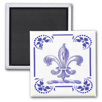 Dutch Blue Fleur De Lis Square Magnet