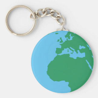 Earth Basic Round Button Keychain