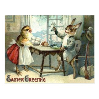 Easter Bunny Chick Egg Meal Hunter Postcard