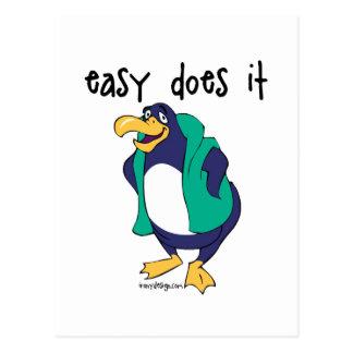 Easy Does It Penguin Postcard