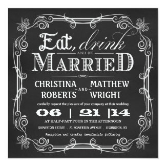 Eat Drink Be Married Square Wedding Invitations
