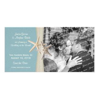 Économies de bleu d'étoiles de mer de mariage de p cartes avec photo