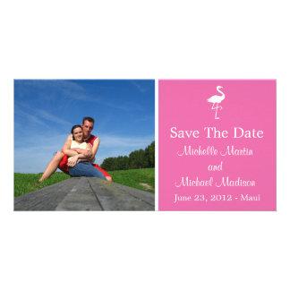 Économies de flamant la date Photocard (rose foncé Photocarte Customisée