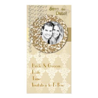 Économies de ruban d'or la date photocarte customisée