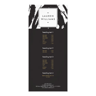 Elegant and Abstract Black and White Brushstrokes Rack Card