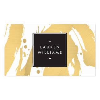 Elegant and Abstract Gold Brushstrokes Business Card