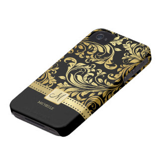 Elegant Black and Gold Damask with Monogram iPhone 4 Covers