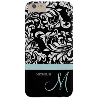 Elegant black & white floral damask with monogram barely there iPhone 6 plus case