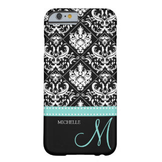 Elegant black & white vintage damask with monogram barely there iPhone 6 case