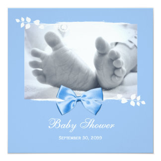 """Elegant Boy Baby Shower Baby Feet With Blue Bow 5.25"""" Square Invitation Card"""