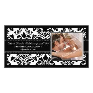 Elegant Damask Wedding Thank You Photocard: black Customized Photo Card