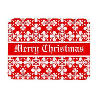 Elegant fleur de lys damask Christmas Rectangular Photo Magnet