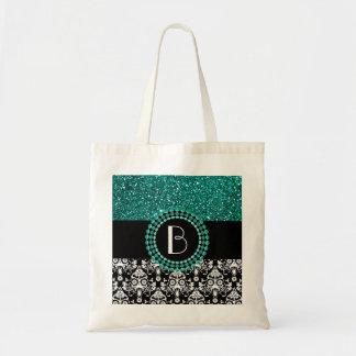 Elegant Glitter and Damask Pattern with Monogram Budget Tote Bag