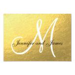 "Elegant Gold Black Wedding RSVP Card with Monogram 3.5"" X 5"" Invitation Card"