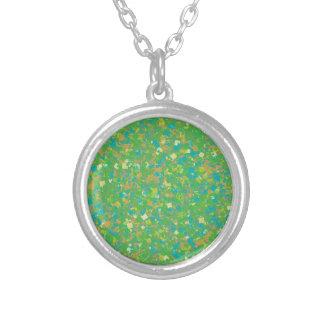 Elegant Green Confetti TEMPLATE Add text image fun Round Pendant Necklace