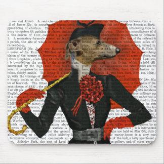 Elegant Greyhound and Red Umbrella 2 Mouse Pad