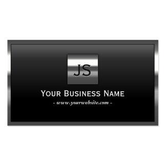 Elegant Monogram Metal Frame Professional Dark Business Card
