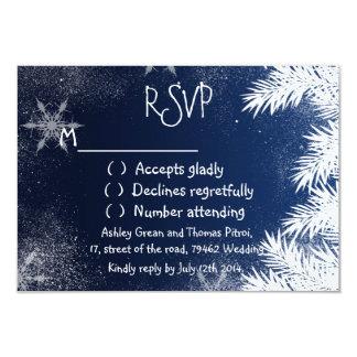 "Elegant Navy Blue Snowflake Winter RSVP Wedding 3.5"" X 5"" Invitation Card"