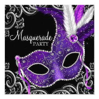 "Elegant Purple and Black Masquerade Party 5.25"" Square Invitation Card"