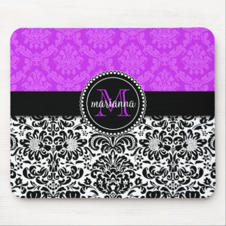 Elegant Purple Black Damask Personalized Mouse Pad