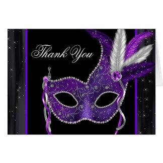 Elegant Purple Masquerade Party Thank You Card